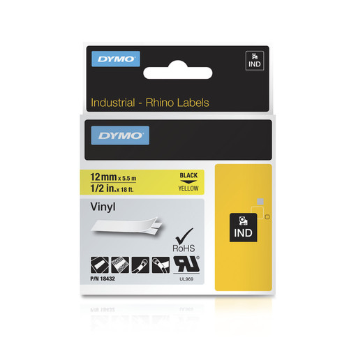 Dymo Rhino 18432 Yellow Vinyl Label