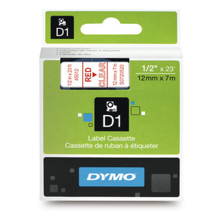 Dymo 45012 D1 Label Red on Clear