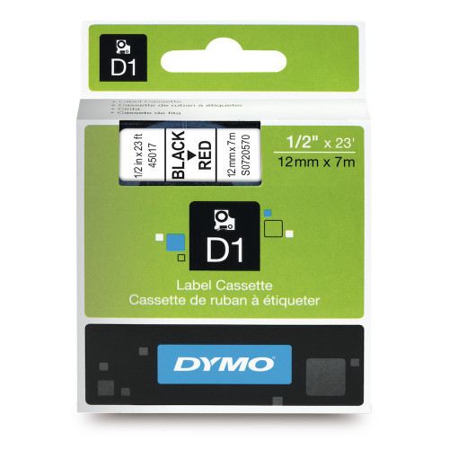 Dymo 45017 D1 Label Black on Red
