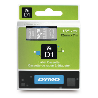 Dymo 45020 D1 Label White on Clear