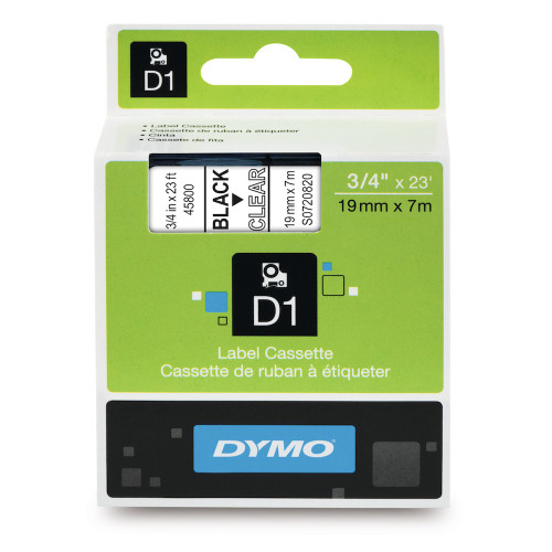 Dymo 45800 D1 Black on Clear Label