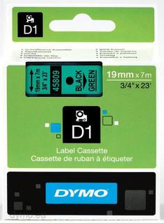 Dymo 45809 D1 Label Black on Green