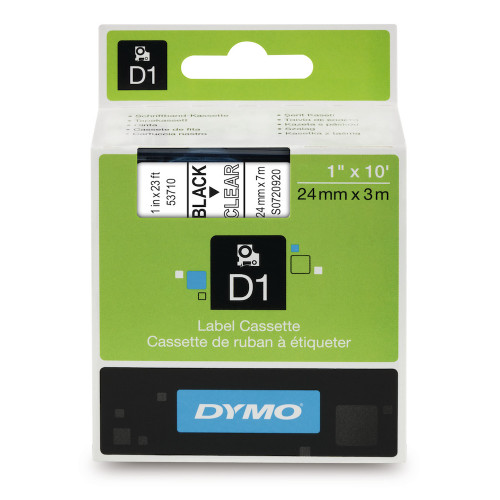 Dymo 53710 D1 Label Black on Clear