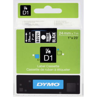 Dymo 53721 D1 Label White on Black