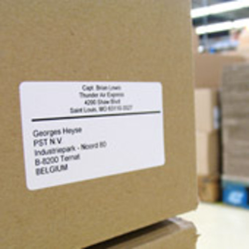 Dymo shipping labels on a brown box for Dymo address label template